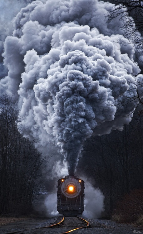Train whistle blowing...