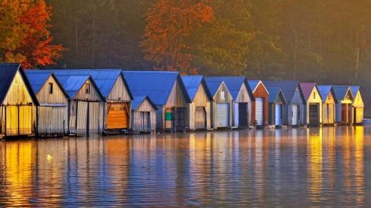 Boathouses on Lake Panache, Greater Sudbury, Ontario, Canada 20140928