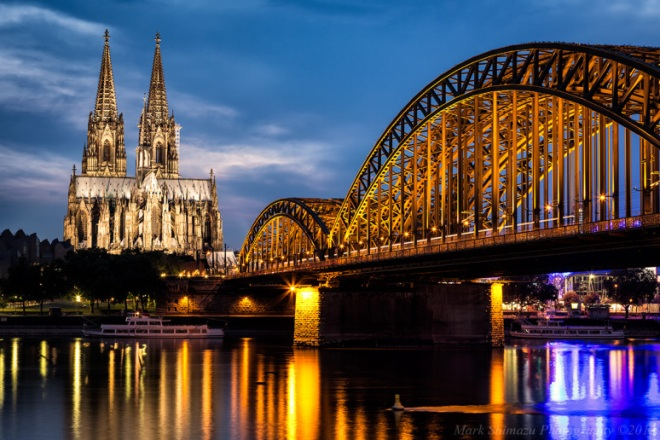 Cologne Cathedral Rhine River Bridge Germany Koln Kolner Dom