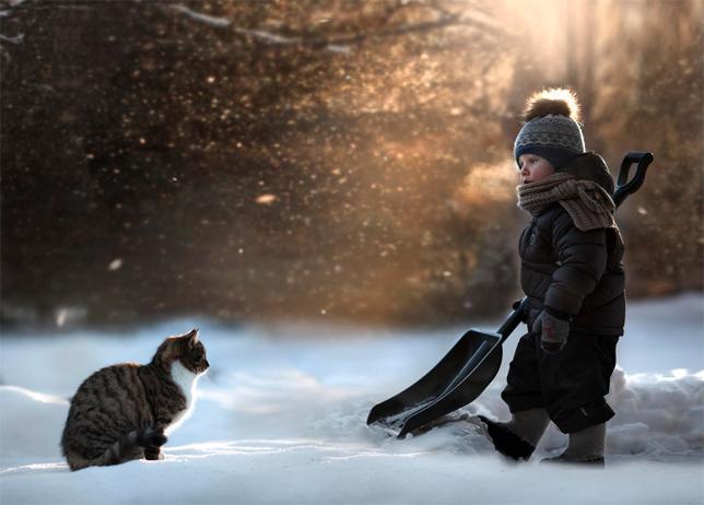 elena-shumilova-cat-boy-snow-shoveling